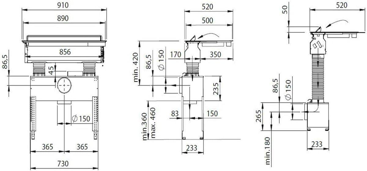 Cocina de inducci/ón de superficie 90 cm, con placa de cocci/ón, sistema de ventilaci/ón integrado Oranier KFL 2094 bc