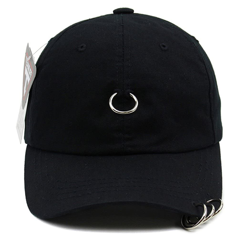Unisex 4 Rings Pierced Mens Baseball Cap Adjustable Size K-Pop Hip Hop Hat  Trucker Black a24513d05603