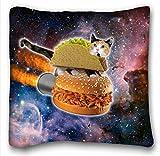 Tarolo Funny Taco Cat Riding Hamburger In Space Pillowcase -...