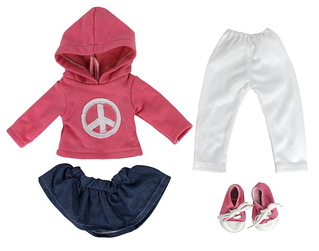 Ride Along Dolly Dress Along Dolly Peace Doll Outfit for American Girl Dolls Includes Skirt, Sweatshirt, Leggings,and Sneakers 4pcs Outfit