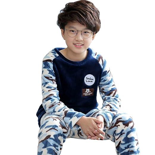 7ae1172652 Kids Camouflage Flannel Boys Pjs Girls Teenager Fleece Pajama Set 3T-12  (Dark Blue
