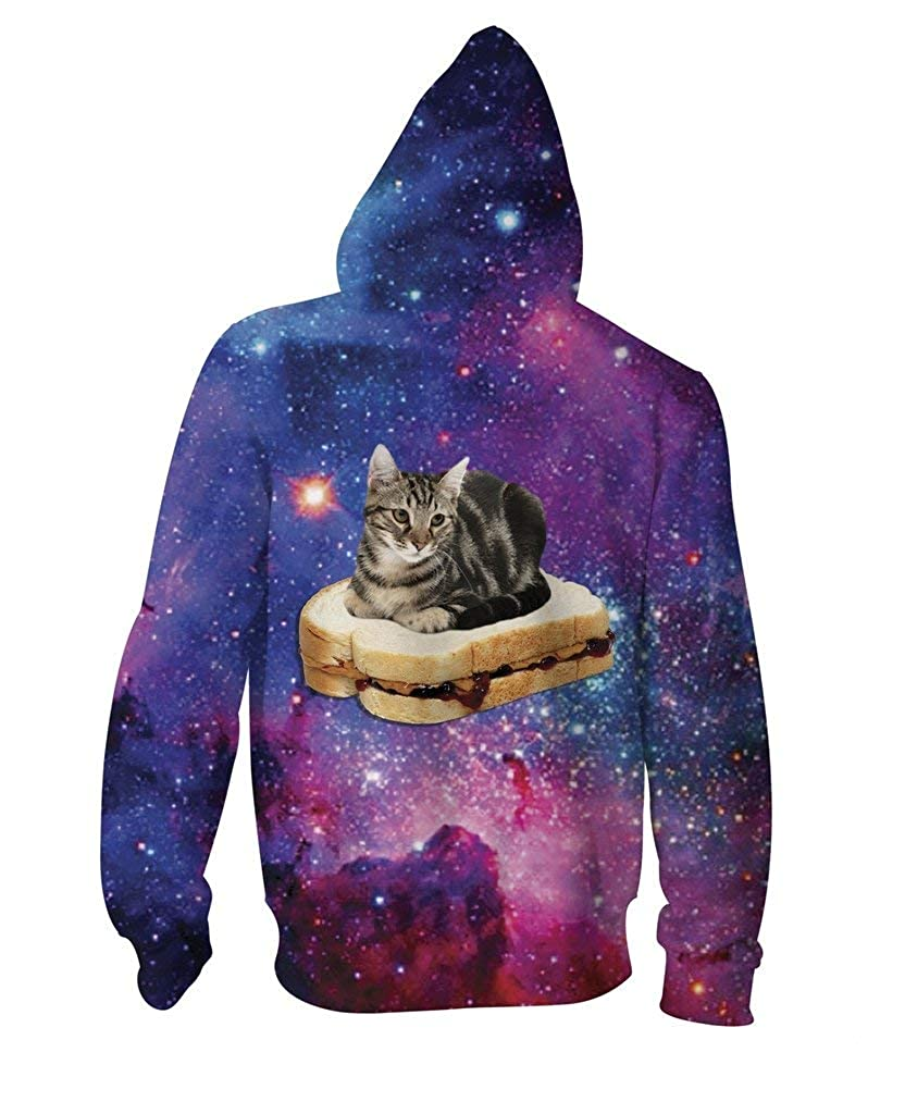 RageOn Lets Rage PBJ Space Kitty Premium All Over Print Zip-Up Hoodie