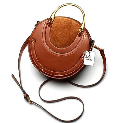 a8f40c82b6c1 Yoome Elegant Rivet Bag Punk Purse Circular Ring Handle Handbags Cowhide  Crossbody Bags For Women -