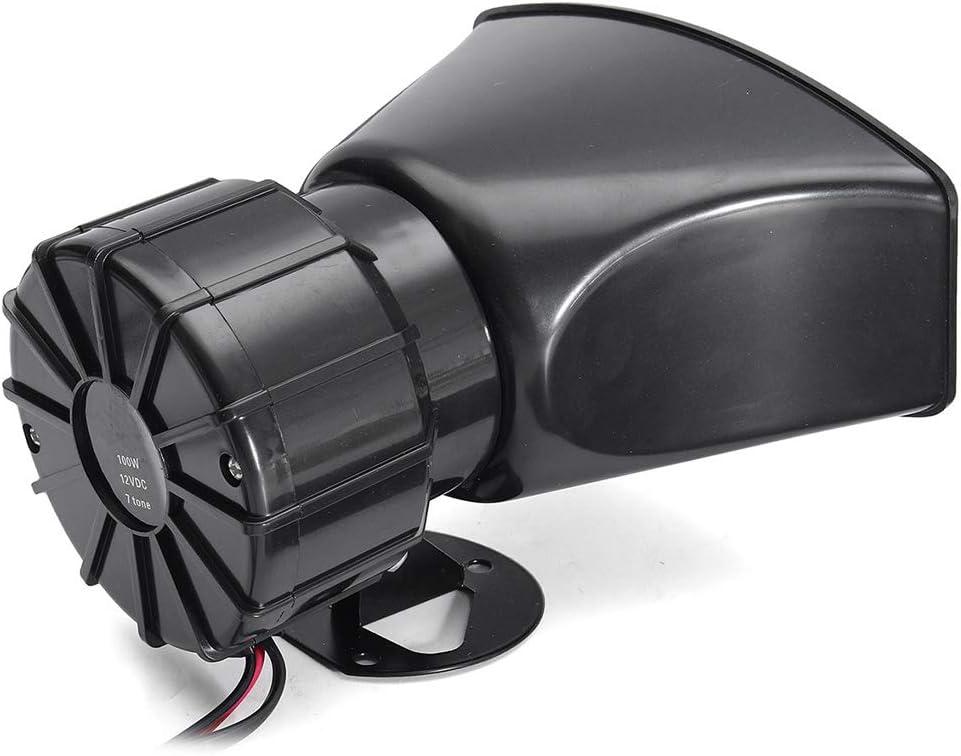 Lorsoul 100W 12V 7 Sounds Auto-LKW-Lautsprecher Warnung Alarm Polizei Feuerwehr-Sirene-Horn laut Ton 105db mit MIC-Mikrofon