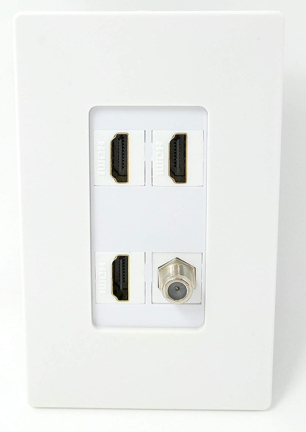 RiteAV 2 HDMI and 1 Coax Cable TV F Type Port Wall Plate White Decorative