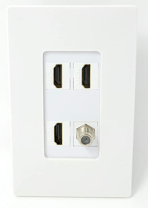 2 HDMI and 1 Coax Cable TV F Type Port Wall Plate White Decorative RiteAV