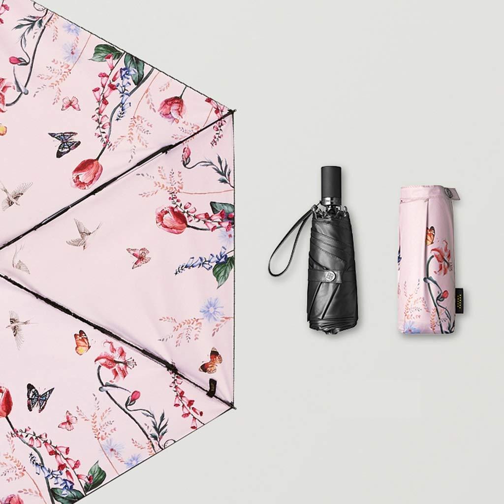 傘 家庭用パラソル日焼け止め用UVパラソル雨と雨の折りたたみ傘黒、ピンクのオプション HBJP (色 : ピンク) B07S983T1S ピンク