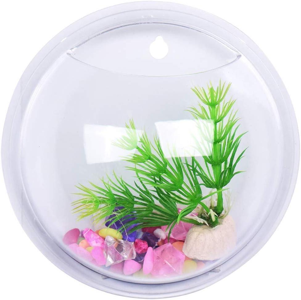 26cm Magiin Wall Fish Tank,Wall Mount Hanging Fish Bowl Aquarium Acrylic Flowerpot Home Decor Goldfish Hanger Plant