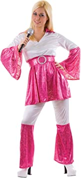 Mamma Mia 70s Abba Ladies Fancy Dress Costume Pink M (disfraz ...