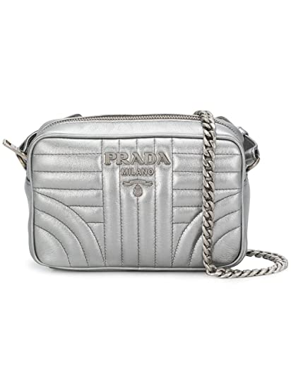 832cad46f6 Prada Women s 1Bh084vcoi2b0xf0135 Silver Leather Shoulder Bag   Amazon.co.uk  Clothing