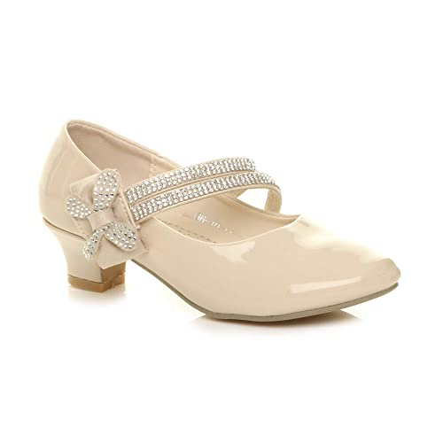 de4e5c8696a Ajvani Girls Kids Childrens Low Heel Strap Bow Bridesmaid Party Formal Shoes  Size 1