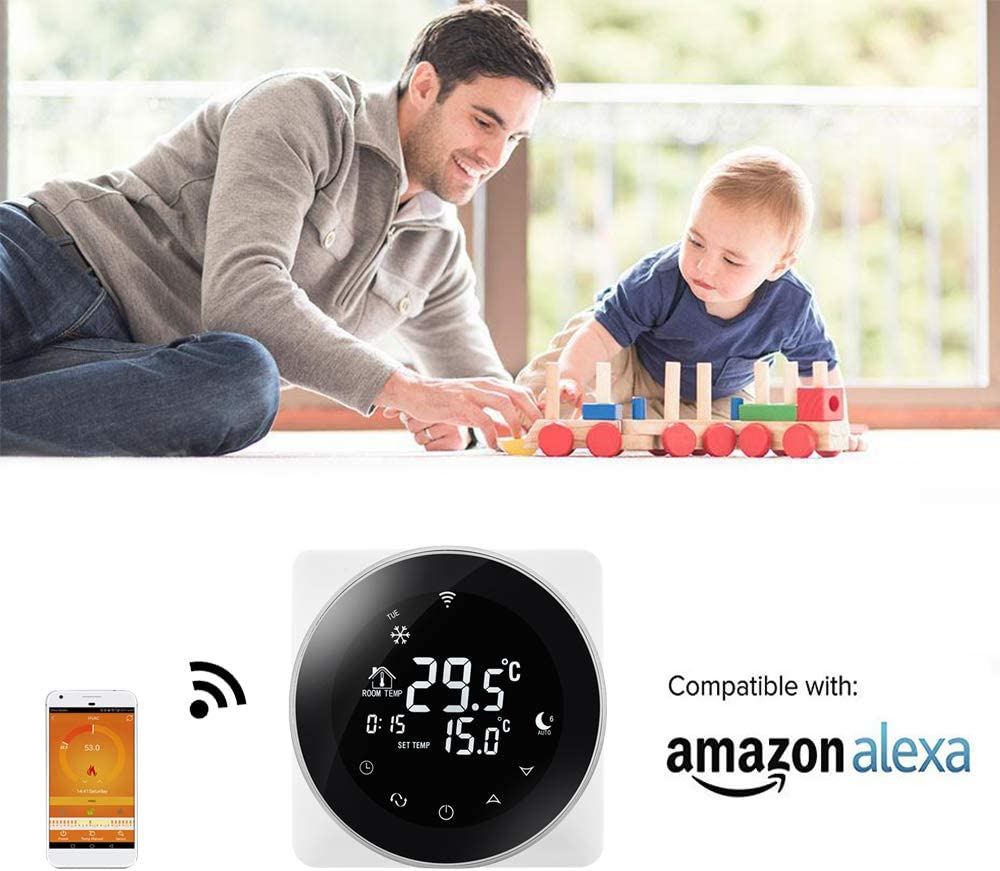Beok 3A Termostato Wifi Programable Digital de Calefacci/ón por Calderas de Gas,con Pantalla LCD Controlador de Temperatura de Luz de Fondo Negro