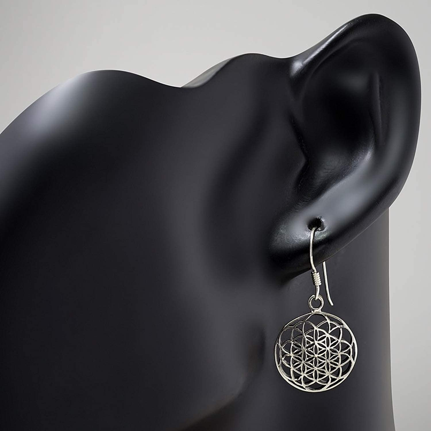 925 Sterling Silver Filigree Flower of Life Mandala Cut Open Round Dangle Hook Earrings 33 mm