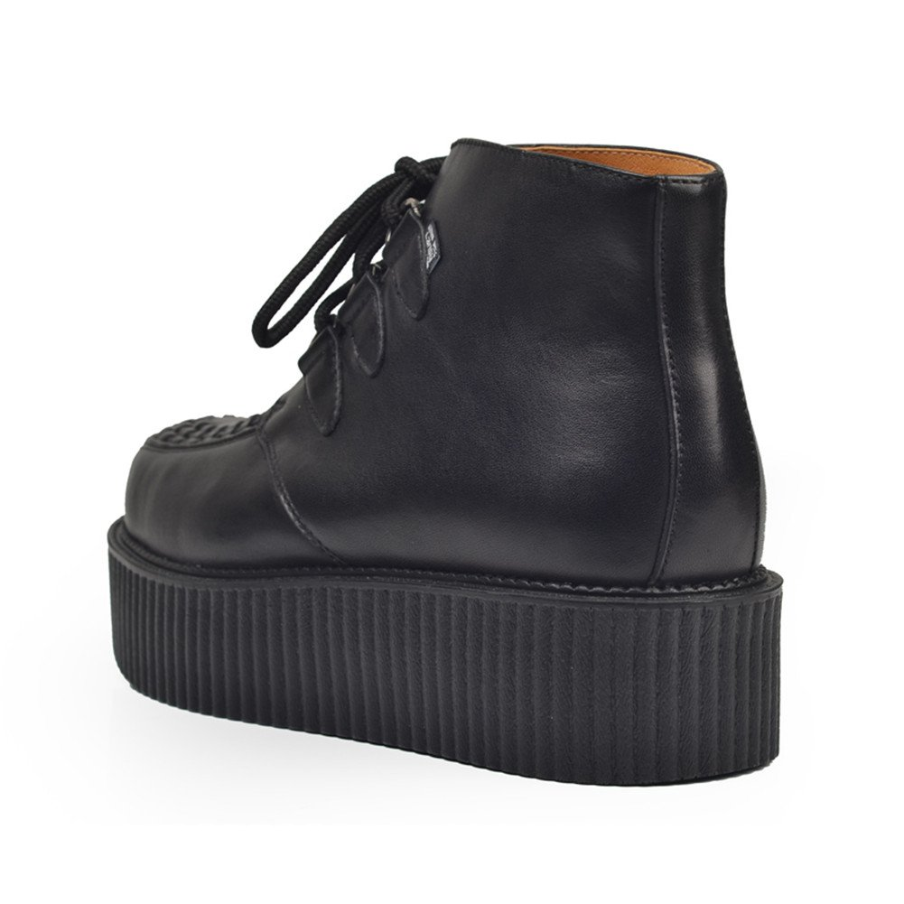 Mens Genuine Leather Lace Up Platform Punk Creepers Ankle Boots