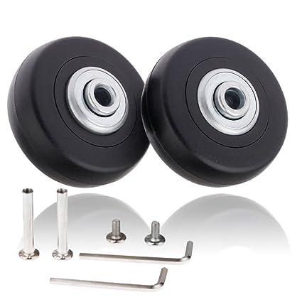 Par de ruedas de recambio de 50 x 18 mm para maleta de equipaje con juego