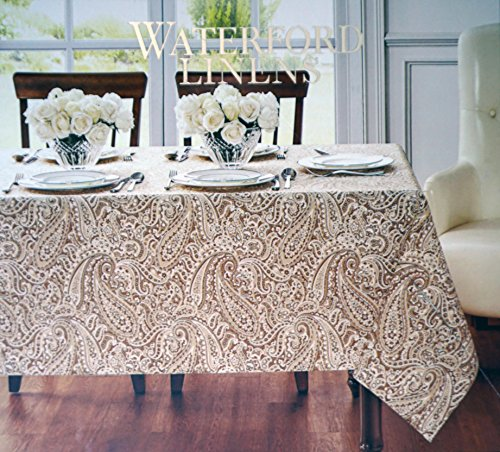 Waterford Linens Fabric Tablecloth Paisley Pattern in Shades Gold Beige Ivory Cream Easy Care Stain Resistant -- Marley, Gold -- 70 Inches Round