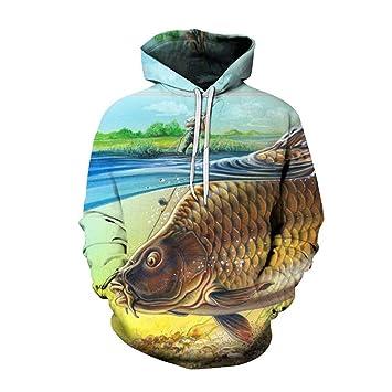 YZFZYLW Sudaderas 3D Imprimir Moda Hombre Mujer Impresión Patrón De Pesca Creativa Ocio Suelto Sudaderas con