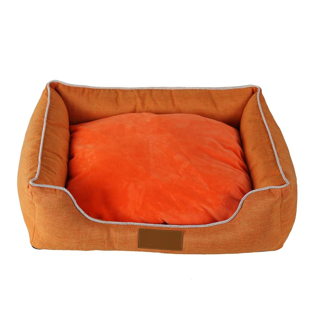 45358cm Pet bed orange Rectangular Cat Dog Mat Puppy Warm Cushion Oxford Cloth, Removable Cushion Winter (Size   55  45  8cm)