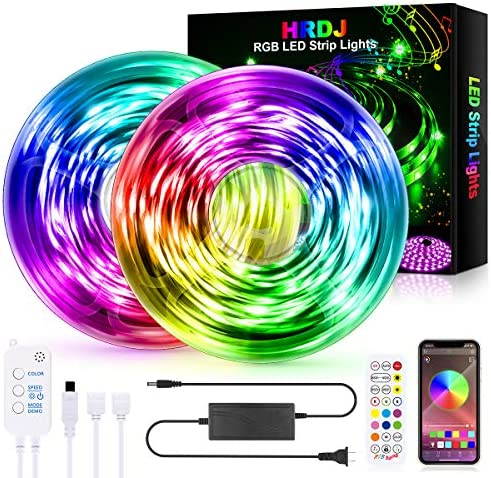 HRDJ Led Strip Lights 65.6 Feet, Music Sync Color Changing Led Light Strip 5050 SMD Flexible Rope Lights with 24Key Remote APP Control Led Lights for Bedroom Party