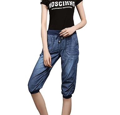 2258f7efe8ee CTOOO Damen Cool Dünnschnitt 3/4 Jeans Shorts Sommer Knielänge Mode Denim  Kurze Hose Regular Fit