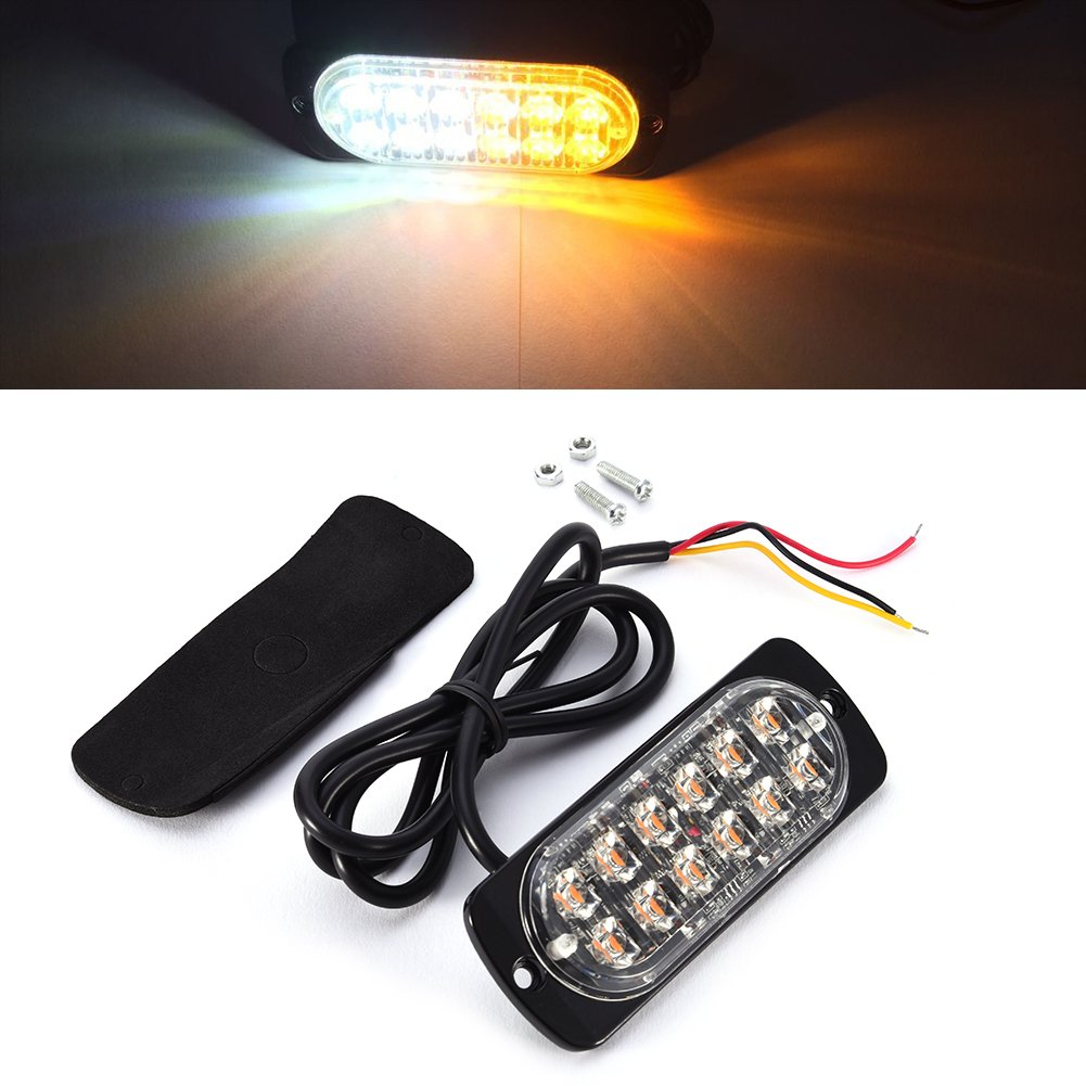 blue-net 12LED Front Rear Side Marker Side Indicator Light, 36W Ultra-thin High Luminance 12LED Car Truck Side Indicator Lights High Power 12LED Strobe Lights(yellow and white)