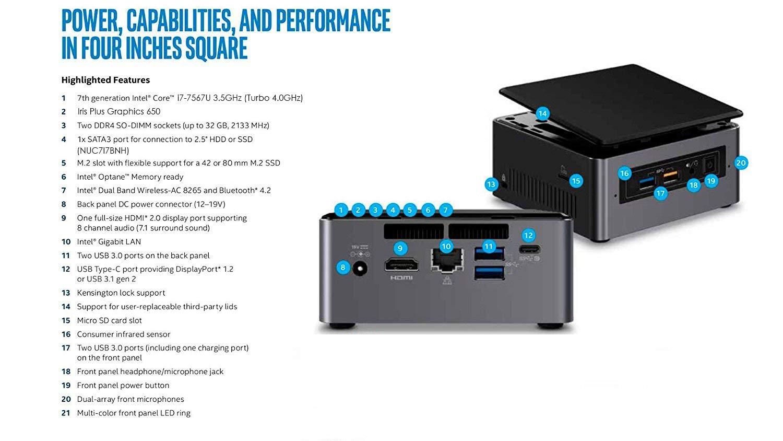 Intel NUC i7-7567U + 16GB DDR4 + 120GB SSD M.2 + Windows 10 Pro ESPAÑOL | Mini PC - NUC7I7BNH: Amazon.es: Informática