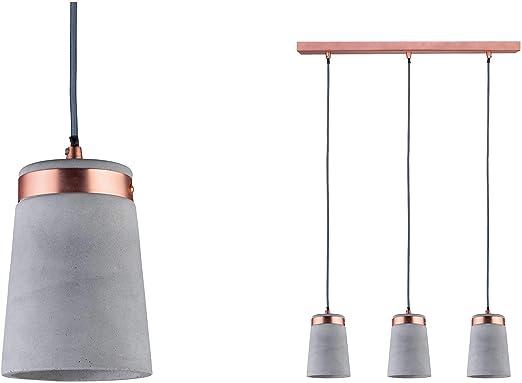 Paulmann 79626 Neordic Stig Pendelleuchte max. 3x20W Hängelampe für E27 Lampen Deckenlampe GrauKupfer matt 230V BetonMetall ohne Leuchtmittel,
