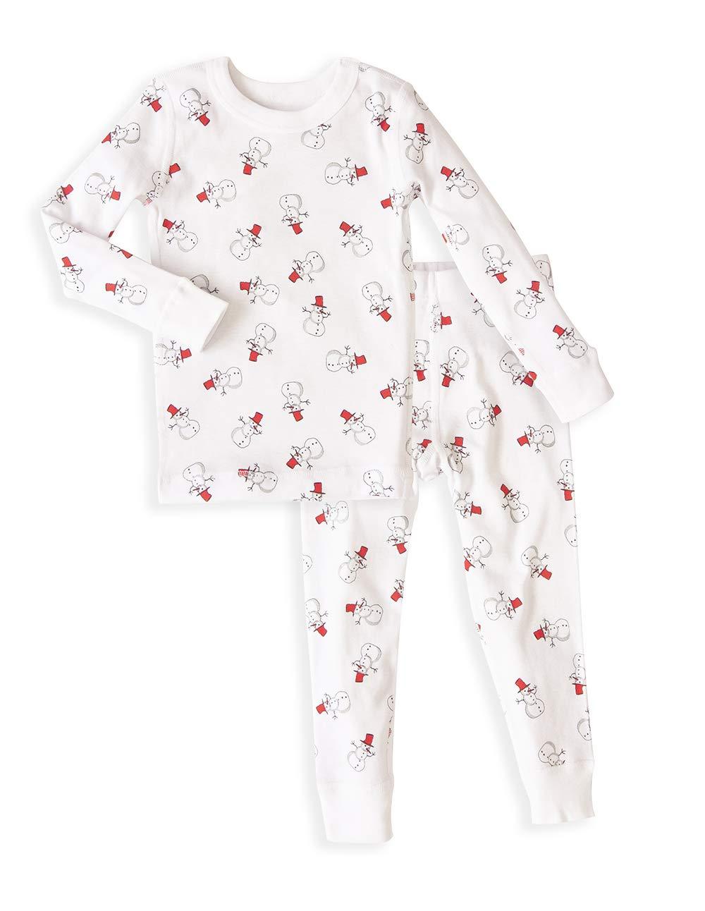Skylar Luna Unisex Long Sleeve Pajamas Set- 100% Organic Cotton Snowmen Size 7