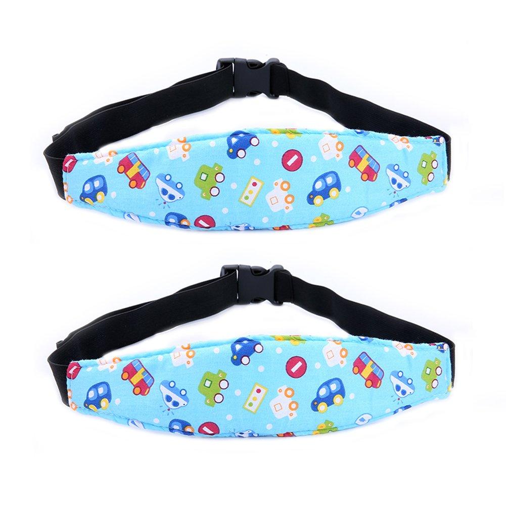 2-Pack Baby Head Support, Adjustable Toddler Infant Stroller Safety Seat Head Support Neck Relief Holder Belt Sleep Nap Safety Positioner By Rely2016 (Blue-Car)