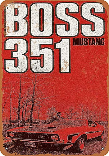 SRongmao 16 x 12 Tin Metal Sign - Vintage Look 1971 Ford Mustang Boss 351 Bar Cafe Home Wall Art Deco