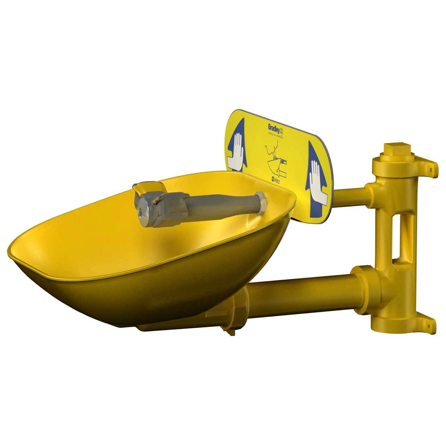 Bradley S19224EW Safety Eye/Face Wash with Plastic Bowl, Wall Mount, 0.4 GPM Water Flow, 13'' Width x 19-11/16'' Depth