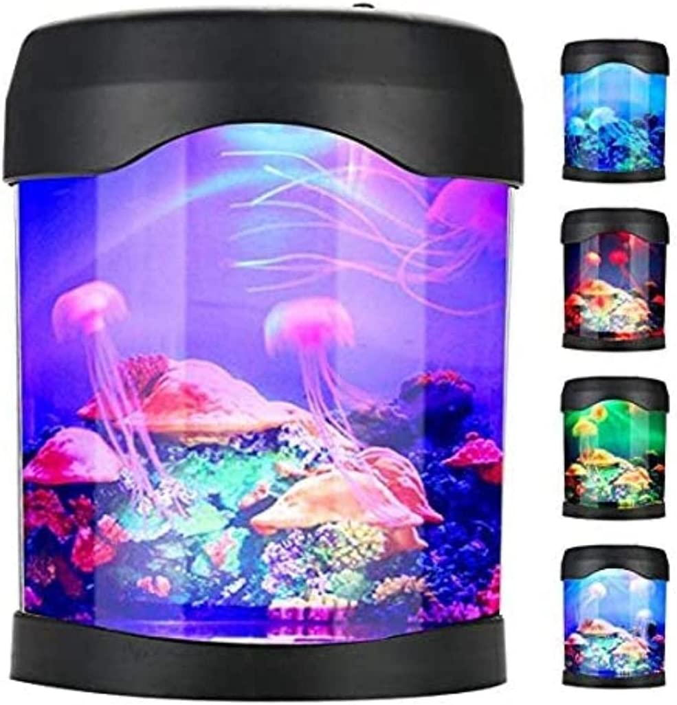 Jellyfish Tank Mood Light Aquarium Relaxing Colour Changing LED Desk Lamp ZO