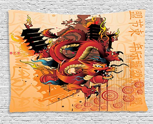 Ambesonne Dragon Tapestry, Asian Dragon Theme Abstract Cartoon Culture Building Fire Wind Japanese Symbols, Wall Hanging for Bedroom Living Room Dorm, 60 X 40 Inches, Multicolor