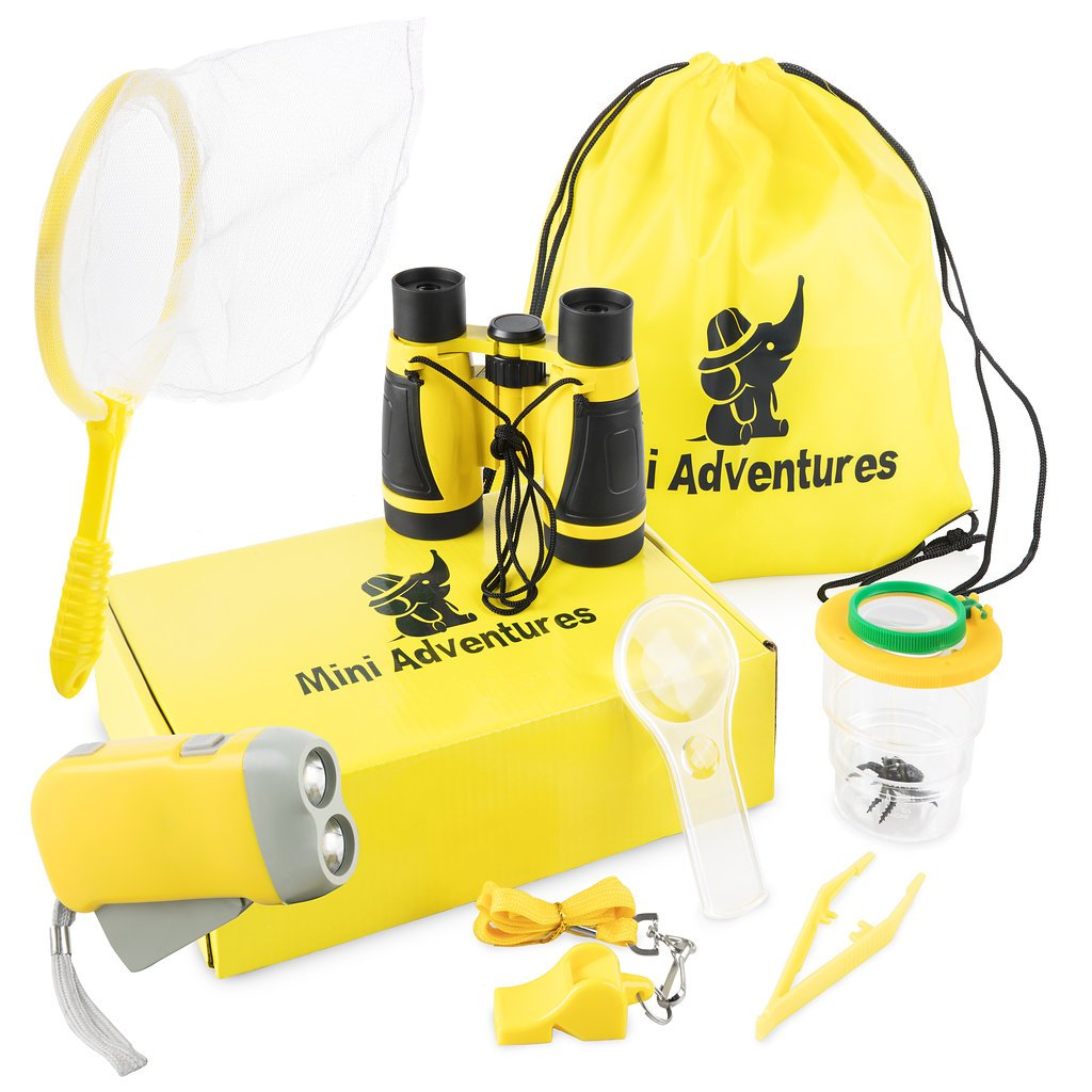 Outdoor Kids Adventure Kit for Boys & Girls Ages 4-12. Set Includes Butterfly net, Quality Whistle, Flashlight, Binoculars, Magnifying Glass, Carry Bag. Perfect for Scouts, Camping, Science