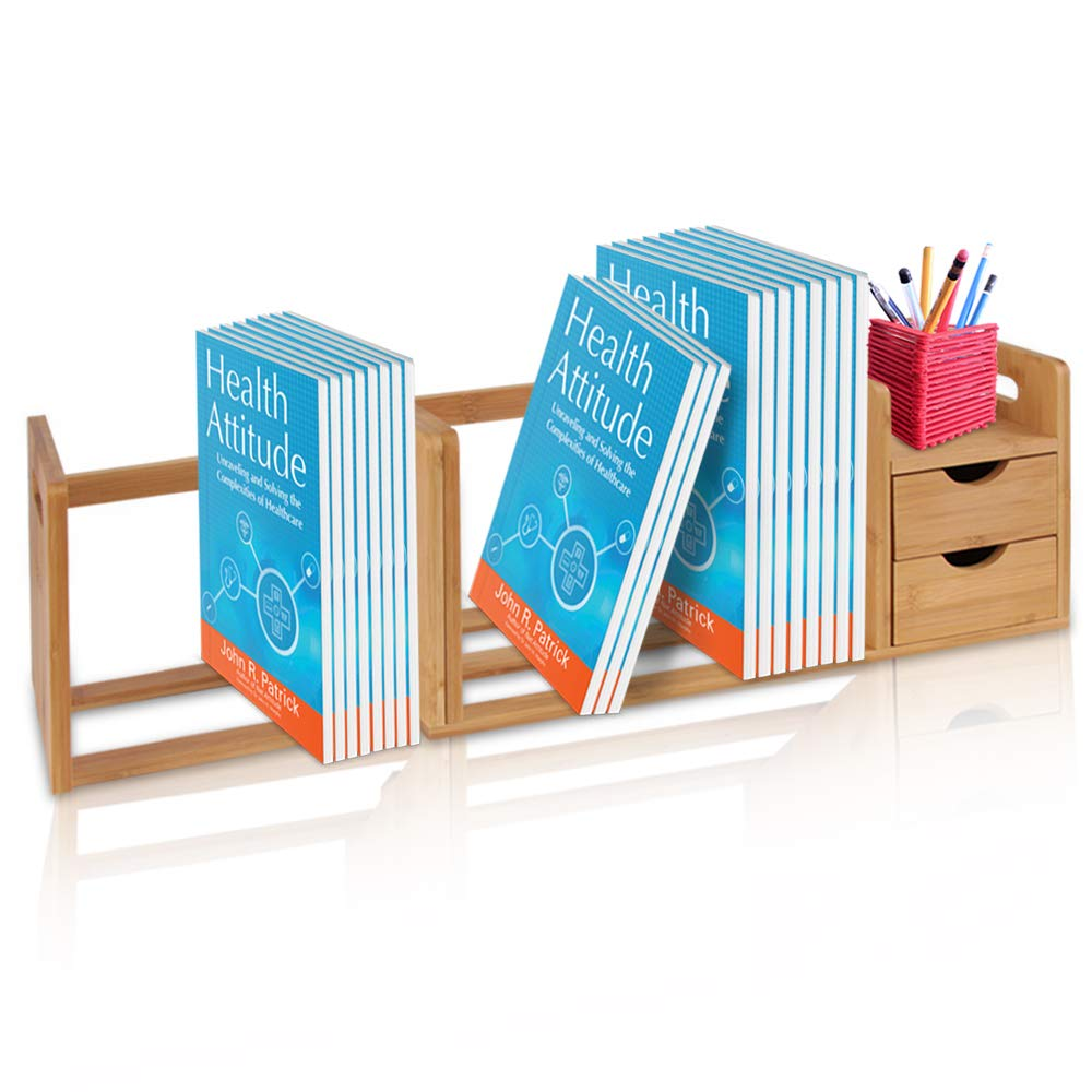 Bamboo Wood Expandable Desk Organizer - Desktop Tabletop Organic Wooden Filing Organization Bookshelf w/Storage Drawer, for Book, Home Office File, Paper, Supplies, Cookbook - SereneLife SLDCAB180 by SereneLife