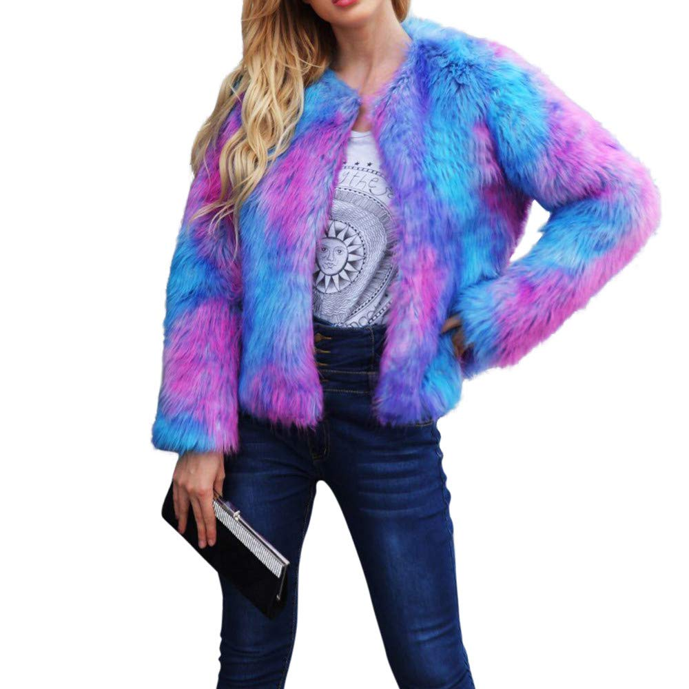 KFSO Women Faux Fur Coat Rainbow Color Winter Thick Outerwear Fur Jacket Parkas (Blue, S)