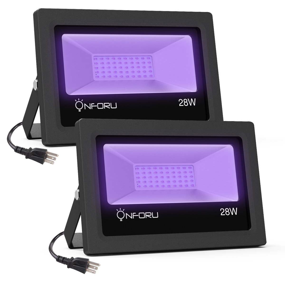 Onforu 2 Pack 28W UV LED Black Light Flood Light with Plug, IP66 Waterproof, for Blacklight Party, Stage Lighting, Aquarium, Body Paint, Fluorescent Poster, Neon Glow, Fishing, Glow in the Dark
