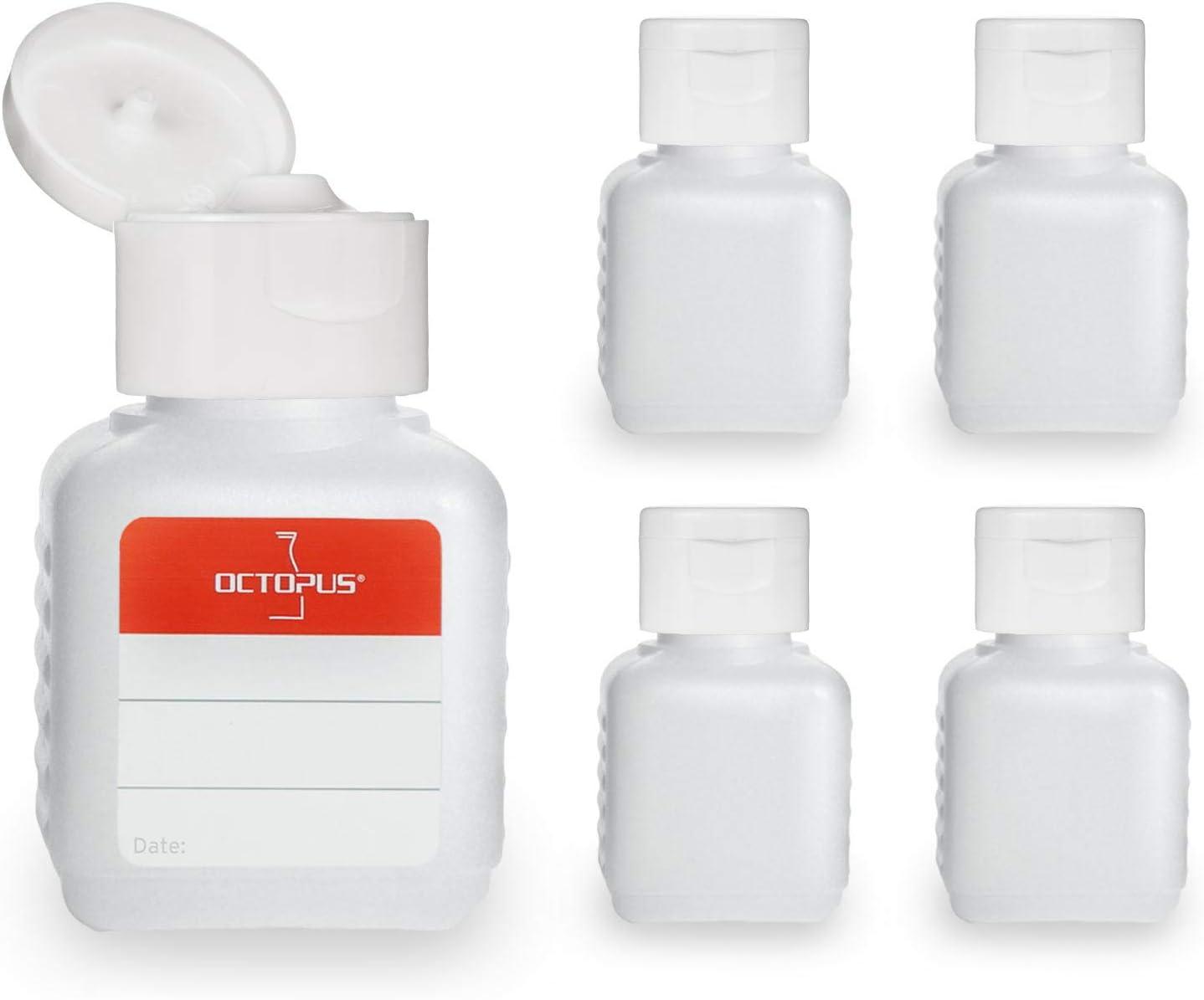 5 botellas de plástico de Octopus de 50 ml, botellas de plástico de HDPE con tapones abatibles blanco, botellas vacías con tapa abatible blanco, botellas rectangulares con 5 etiquetas para marcar