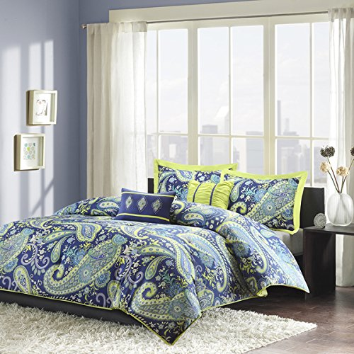 Modern Teen Girls Comforter Bedding Set with Blue and White Paisley Print with Lime Green Accents (full/queen)