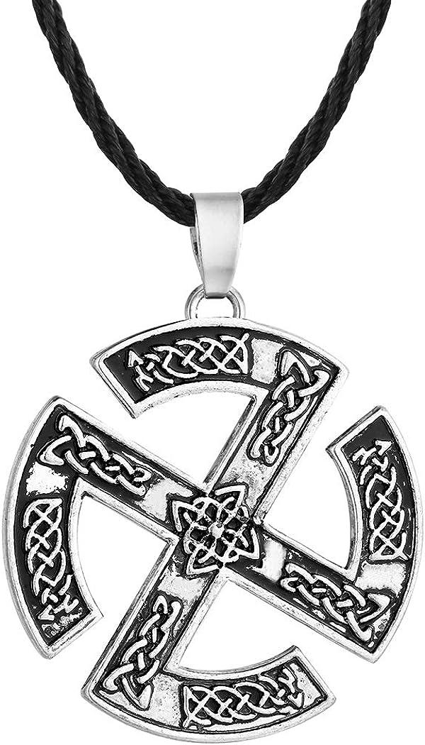 Chandler Silver Men Necklace Valknut Slavic Talisman Gromovik Pendant Gorjus Rodimich Viking Jewelry Necklace Nordic Talisman