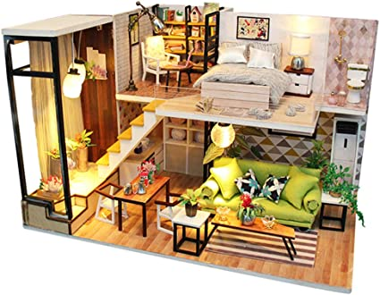 Doll House Miniature DIY Kit Doll Toy House With Furniture LED Light Box Gift OE