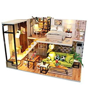 Spilay DIY Miniature Dollhouse Wooden Furniture Kit,Handmade Mini modern Apartment Model with LED Light ,1:24 Scale Crafts&Collectors&Creative Doll House Toys for Valentine Gift (Romantic Europe) M030