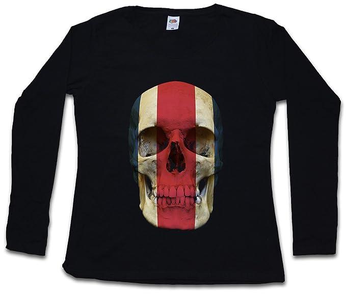 Classic Costa Rica Skull Flag Mujer Woman T-Shirt DE Manga Larga - Bandera cráneo