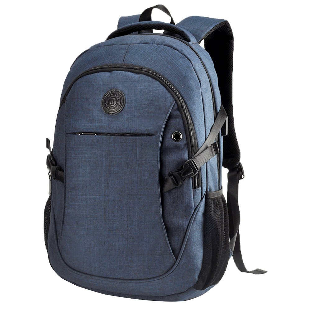 EASTERN TIME School Backpack,15.6'' Blue Laptop Bag College Book Bag with USB Charging Port for Laptop/MacBook