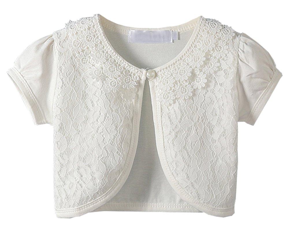 GSVIBK Little Girls Long Sleeve Lace Cardigan Button Closure Bolero Cardigans Shrugs Dress Cover up Short White 5 Year(130)-102