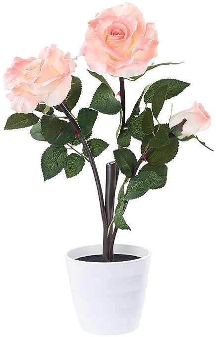 Lunartec LED Rosen: LED-Rosenstrauch Real Touch mit 3 LED-Blüten, 50 cm, rosa (LED Blumen)