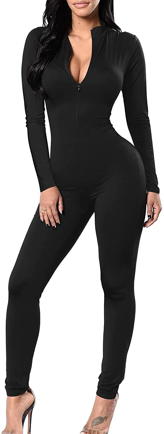 TOB Women's Soft Long Sleeves Zip Up One Piece Bodycon Jumpsuits Playsuits