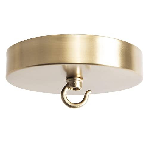 Flea Market Rx Chandelier Canopy Kit with Hook, 5 Diameter Ceiling Light Cover Plate Chandelier Mounting Kit Hardware for Hanging Chained or Swag Light Fixtures, Made in USA Satin Brass