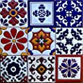 "Ceramic Relief Talavera Mexican Tile 4x4"", 9 MIXED DESIGNS (NO STICKERS) 3"