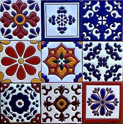 "Ceramic Relief Talavera Mexican Tile 4x4"", 9 MIXED DESIGNS (NO STICKERS) 3"